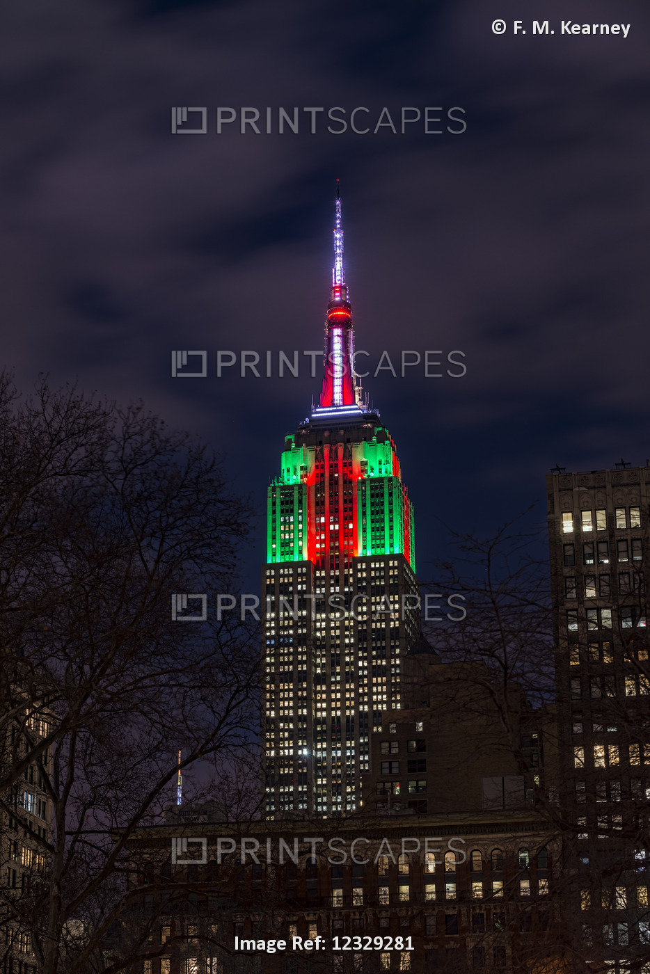 Empire State Building In Christmas Colours; New York City, New York, United ...